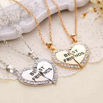 New Fashion 2pcs/set  Gold Silver Crystal Broken Heart  Best Friend Necklaces Pendants For Women Jewelry whol