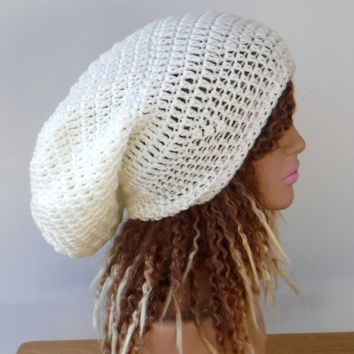 Soft white woman Slouchy large Tam Dreadlock Hippie Beanie Dread Hat
