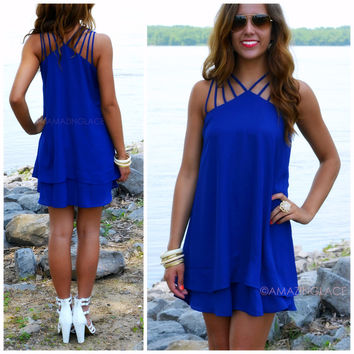 Marquette Royal Blue Multi Strap Shift Dress