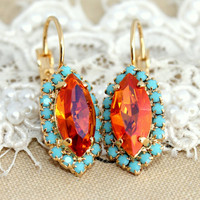 Crystal turquoise pink orange earring chic jewelry - 14k plated gold earrings real swarovski rhinestones .