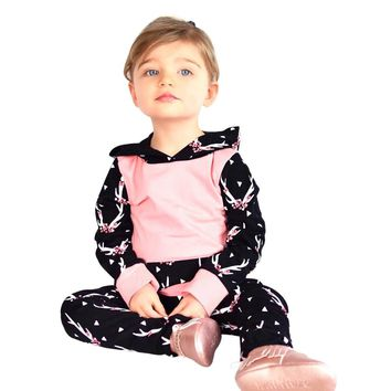 2017 Cute Toddler Infant Baby Girl Autumn Winter Floral Splice Hoodie Tops+Pants Outfits Baby Clothes Sets Hooded Clothing Sets