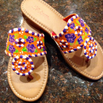 Jack Rogers inspired sandals painted with a Lilly Pulitzer like design in Clemson Tiger colors !! Perfect for game day !