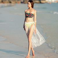 Sumer  Sexy Hollow Out Lace Women Beach Side Slit Wrap Skirt White Color CL2692