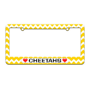 Cheetahs Love with Hearts - License Plate Tag Frame - Yellow Chevrons Design