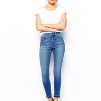 ASOS Ridley High Waist Ultra Skinny Ankle Grazer Jeans in Busted Mid W