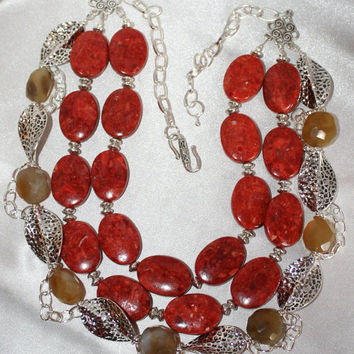 Chunky Big Red Orange Sponge Coral Ovals Bold Amber Chalcedony Faceted Nugget Statement Necklace
