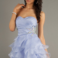 Short Strapless Ruffled Homecoming Dress