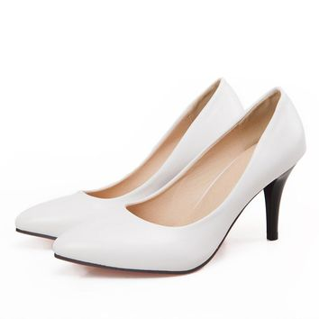 ac4df88318dc ARMOIRE Brand New Hot Fashion Women Nude Pumps Black White Beige Ladies  High Heels Shoes Breathable