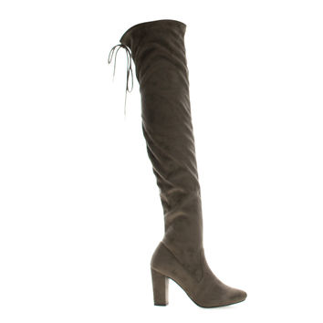 Snivy Taupe By Delicious, OTK Over Knee Thigh High Slouchy Boots w/ Back Lace Tie & Block Heel