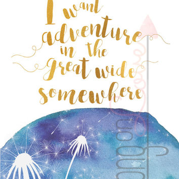 I want adventure in the great wide somewhere - Beauty and the Beast, gold foil & watercolor effects-Printable, Instant digital download