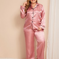 Plus Size Contrast Binding Satin Pajama Set