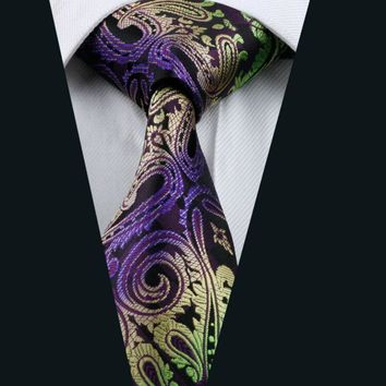 2016 New Men`s Tie 100% Silk Paisley Jacquard Woven Necktie Gravata For Men Formal Wedding Party Business Free Postage LD-593