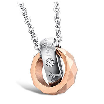 D·fingJewelry Fashion Stainless Steel Matching Couple Necklaces Forever Love Ring Pendent Promise Love Engagement Wedding Jewelry Gift with Chai (DF5571, Golden)