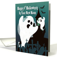 Two Ghost with Haunted House for 1st Halloween in New House card
