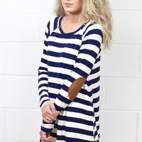 Striped Suedette Elbow Patch Long Sleeve Top {Navy}