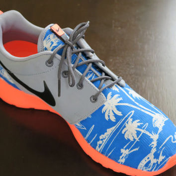 Men's Custom Island Vibes Nike Roshe run Mango & Blue island theme