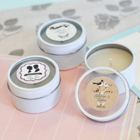 Vintage Wedding Personalized Round Candle Tins (Min. Qty 24)