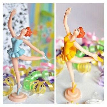 "Ballerina Cake Topper Blue or Yellow Figurine 5"" Ballet Girl"