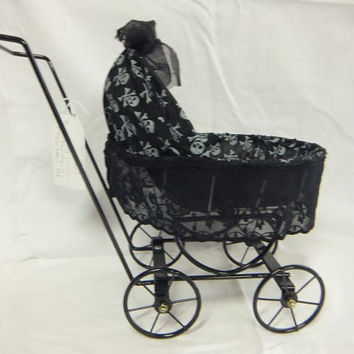 Creepy Doll Stroller / Carriage / Skulls / Vintage Black Lace / Halloween / Spooky / OOAK
