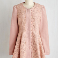40s Long Long Sleeve Chicago Charm Coat in Blush by ModCloth