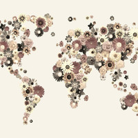 Flower World Map Canvas in Sepia Tones