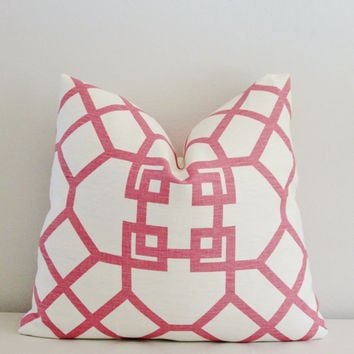 Windsor Smith Xu Garden Pillow // Winsor Smith Pink White Trelllis Linen Decorative Pillow Cover 18x18, 20x20 Accent Pillow, Toss Pillow