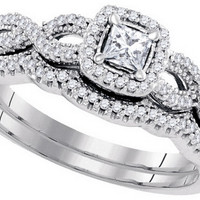 10kt White Gold Womens Princess Diamond Twist Bridal Wedding Engagement Ring Band Set 3/8 Cttw