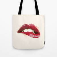 Luscious Lips Tote Bag by Allison Reich