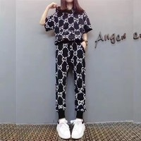 """Gucci"" Women Casual Fashion GG Letter Print Hooded Short Sleeve Trousers Set Two-Piece Sportswear"