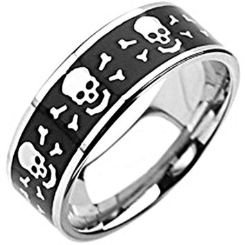 SPIKES 316L Stainless Steel Skull and Bones Ring