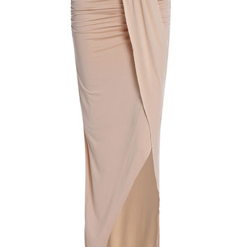 Sexy Strapless Sleeveless Asymmetrical Solid Color Dress