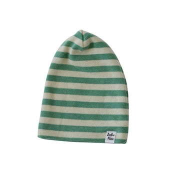 slouchy baby beanie, green stripe beanie, baby boy toboggan, slouchy knit hat, slouchey infant hat, hipster baby boy, slouch baby hat