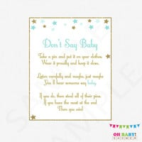 Blue and Gold Baby Shower Games, Don't Say Baby, Printable baby shower, clothes pin game, twinkle twinkle little star baby boy download STBG