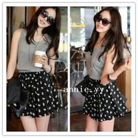 Fashion Women Korean Sweet Summer Sleeveless Chiffon Casual Waist Dress S M L