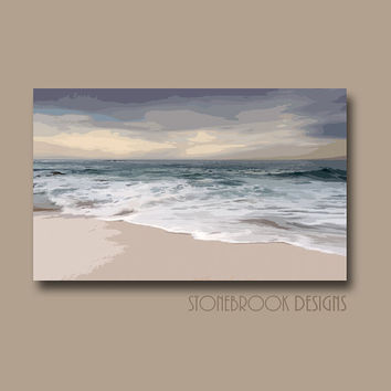 Coastal Nautical Wall Art CANVAS Abstract Painting Beach Ocean Artwork Water Waves Large Image Wrap Home Decor Free Shipping