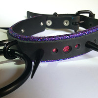 Nebula- Genuine Leather Spiked Goth Cybergoth Industrial O Ring Collar
