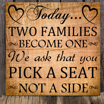 Pick a Seat not a Side Decal / Wedding Decal / Wedding Decoration / Wedding Sticker