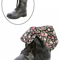 Diva Lounge Timberly-43 Black Floral Cuff Lace Up Combat Boots and Shop Boots at MakeMeChic.com