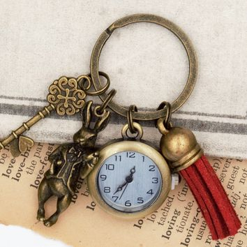 Alice in Wonderland White Rabbit Keychain with Watch and Tassel