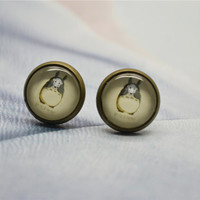 Anime Totoro earrings - Miyazaki Hayao post stud earrings- Totoro with No face mask I'm not here cabochon ear stud earrings (ED01)