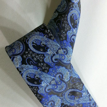 Men's Tie, Paisley Blue and Dark Blue Necktie, Paisley Blue and Dark Blue Cravat, Paisley Blue and Dark Blue Tie - EDK1410059