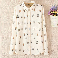 Long Sleeve Chiffon Korean Print Owl Shirt [9584885898]