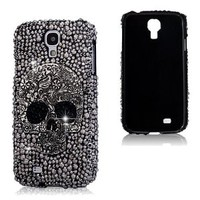 PUNKPHONE Bling 3d Skull Design Black Case Cover with Black Rhinestone Crystal for Samsung Galaxy S4 I9500 (Black)