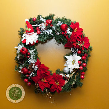 Santa Wreath Holiday Wreath Christmas Wreath Pine Wreath Holiday Decor Santa Gift Fun Wreath Funky Wreath with poinsettia Wreaths under 100