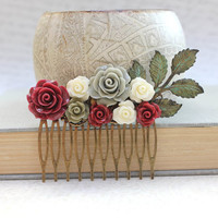 Deep Red Rose Bridal Hair Comb Dark Wine Wedding Hair Accessories Bridemaids Gift Winter Wedding Rustic Verdigris Branch Comb Cream Rose