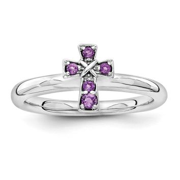 Rhodium Plated Sterling Silver Stackable Amethyst 9mm Cross Ring