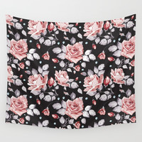 Vintage Pink Rose Flowers Wall Tapestry by Smyrna