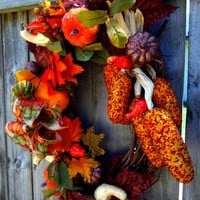 Fall Thanksgiving Front Door Wreath Gourds Pumpkins Berries Sparkly Leaves Jeweled Corn