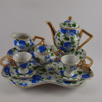 8 Piece Vintage Miniature Porcelain Floral Print Tea Set w/ Gold Rim
