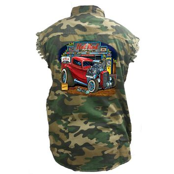 Men's Camo Sleeveless Denim Shirt Hot Rod Garage Vintage Car Denim Vest
